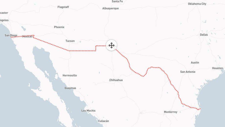 Here's where Trump's proposed border wall is intended to be: Between Mexico and several U.S. states. Photo: File/Berliner Morganpost Via OpenStreetMap