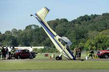 """Authorities said there were no injuries from the crash, which occurred around 10:30 a.m. Friday, Sept. 22, 2017, at Danbury Airport and that the plane had made a """"rough landing"""" causing damage to the aircraft."""
