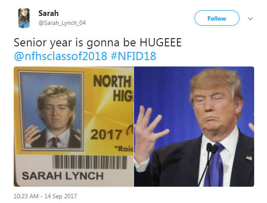 Seniors at North Farmington High School in Michigan dressed in costume for their student ID pictures.Image source:Twitter Photo: Twitter