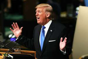 NEW YORK, NY - SEPTEMBER 19:  President Donald Trump speaks to world leaders at the 72nd United Nations (UN) General Assembly at UN headquarters in New York on September 19, 2017 in New York City. This is Trump's first appearance at the General Assembly where he addressed threats from Iran and North Korea among other global concerns.  (Photo by Spencer Platt/Getty Images) *** BESTPIX ***