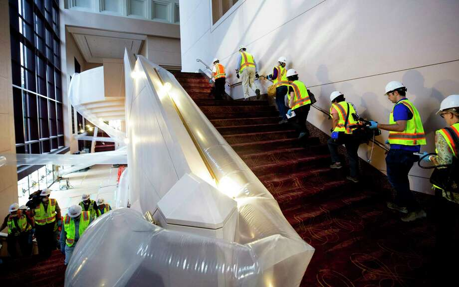 Members of Gilbane Construction led media on a tour of the flood damaged Wortham Theater Center Friday, Sept. 22, 2017, in Houston. Photo: Godofredo A. Vasquez, Houston Chronicle / Godofredo A. Vasquez