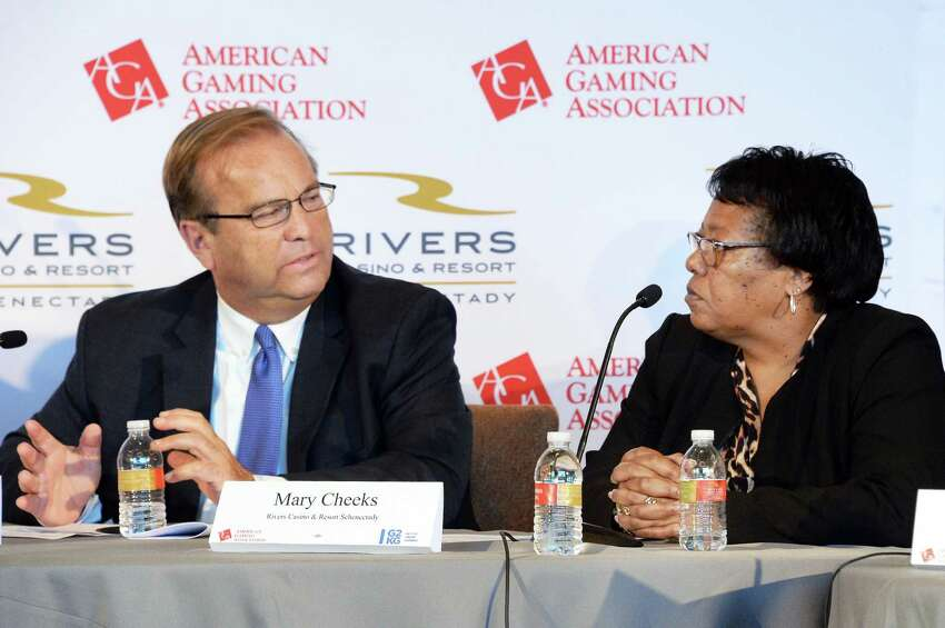 Schenectady Metroplex Development Authority Chairman Ray Gillen, left, and Rivers Casino and Resort general manager Mary Cheeks speak during the American Gaming Association's informal panel about job growth surrounding the casino industry at the Rivers Casino Tuesday Sept. 19, 2017 in Schenectady, NY. The New York state Gaming Commission says at least 3,300 jobs have been created by the three casinos statewide. However, revenue projections are far off original estimates. (John Carl D'Annibale / Times Union)