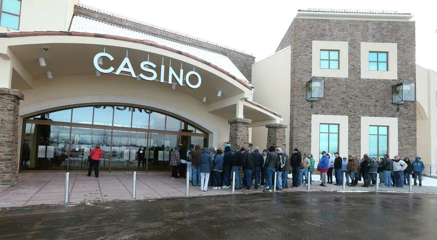 Customers lined up at the opening of del Lago Resort and Casino in early 2017 in Tyre, Seneca County. At the end of August, the casino had only made 33 percent of the $263 million it projected it would make in its first year. (Courtesy USA Today Network/Jamie Germano)