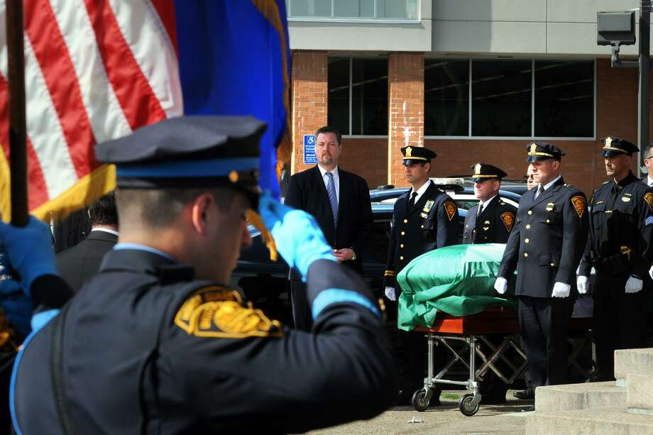 Funeral services were held for Bridgeport Police Sgt. Jessica Tillson at Olivet Congregational Church, in Bridgeport, Conn. Sept. 22, 2017. Tillson, a 21-year police veteran of the Bridgeport Police Department, died of cancer last Saturday at her home in Shelton. Photo: Ned Gerard / Hearst Connecticut Media / Connecticut Post