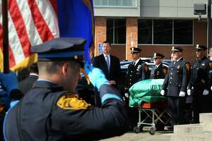 Funeral services were held for Bridgeport Police Sgt. Jessica Tillson at Olivet Congregational Church, in Bridgeport, Conn. Sept. 22, 2017. Tillson, a 21-year police veteran of the Bridgeport Police Department, died of cancer last Saturday at her home in Shelton.