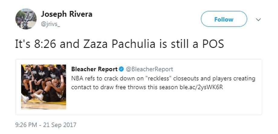 @jrivs_: It's 8:26 and Zaza Pachulia is still a POS Photo: Twitter.com