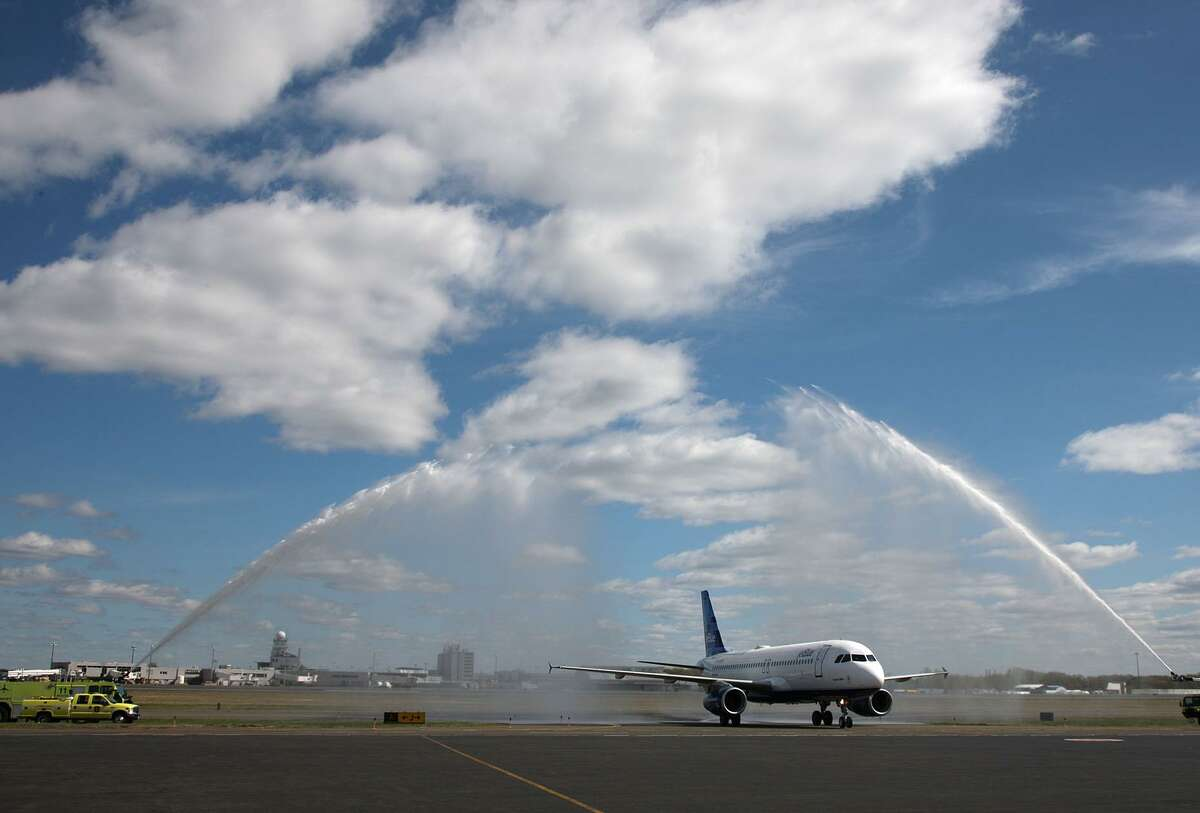 JetBlue inaugurates Bradley International Airport service on Nov. 17, 2010, in Windsor Locks, Conn. Served today by 10 airlines, Bradley ranked last for customer satisfaction among 21 medium-sized airports nationally in a J.D. Power survey published Sept. 21, 2017.