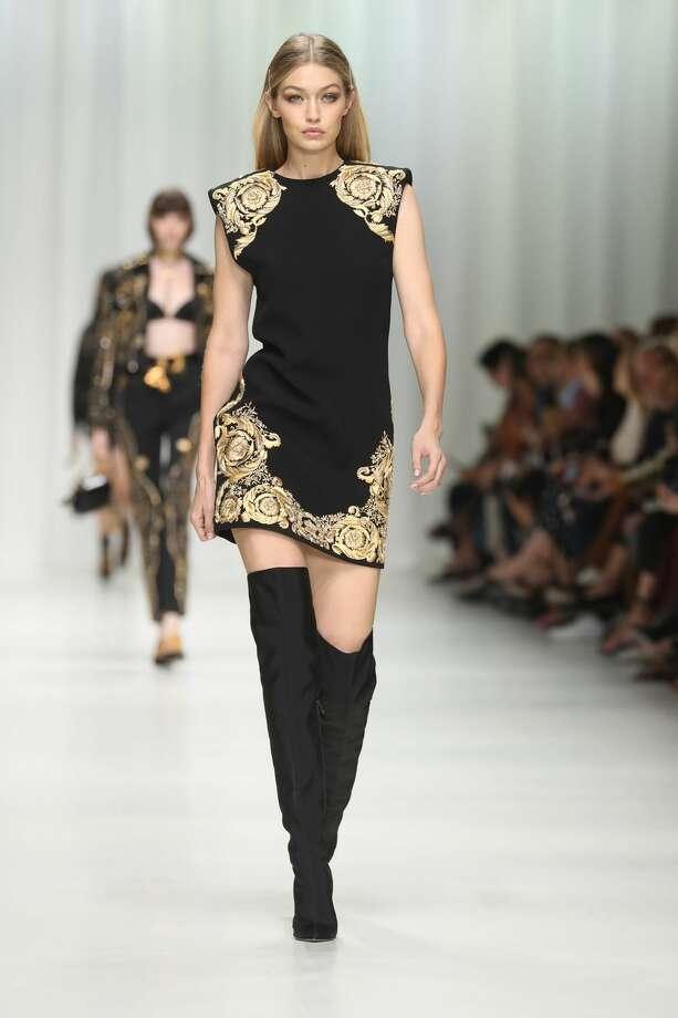 59be9e53560b Gigi Hadid walks the runway at the Versace show during Milan Fashion Week  Spring Summer