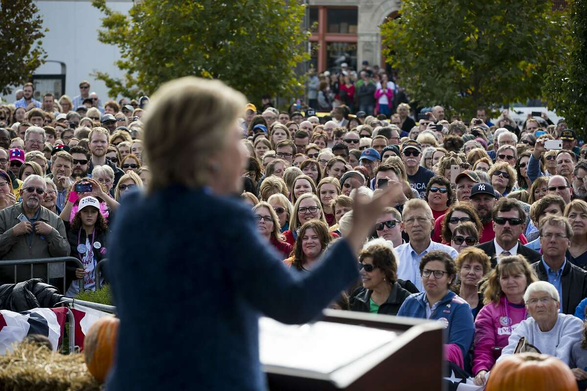 FILE � Hillary Clinton campaigns in Cedar Rapids, Iowa, Oct. 28, 2016. Under growing pressure to reveal more about the spread of covert Russian propaganda on Facebook, the company said on Sept. 21, 2017 that it was turning over more than 3,000 Russia-linked ads, some of which attacked Hillary Clinton, to the Senate and House intelligence committees. (Doug Mills/The New York Times)
