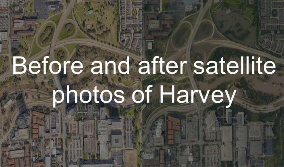 See satellite photos of the Houston area before and after Hurricane Harvey hit. Photo: Getty