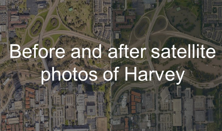 before and after harvey  satellite photos of the houston