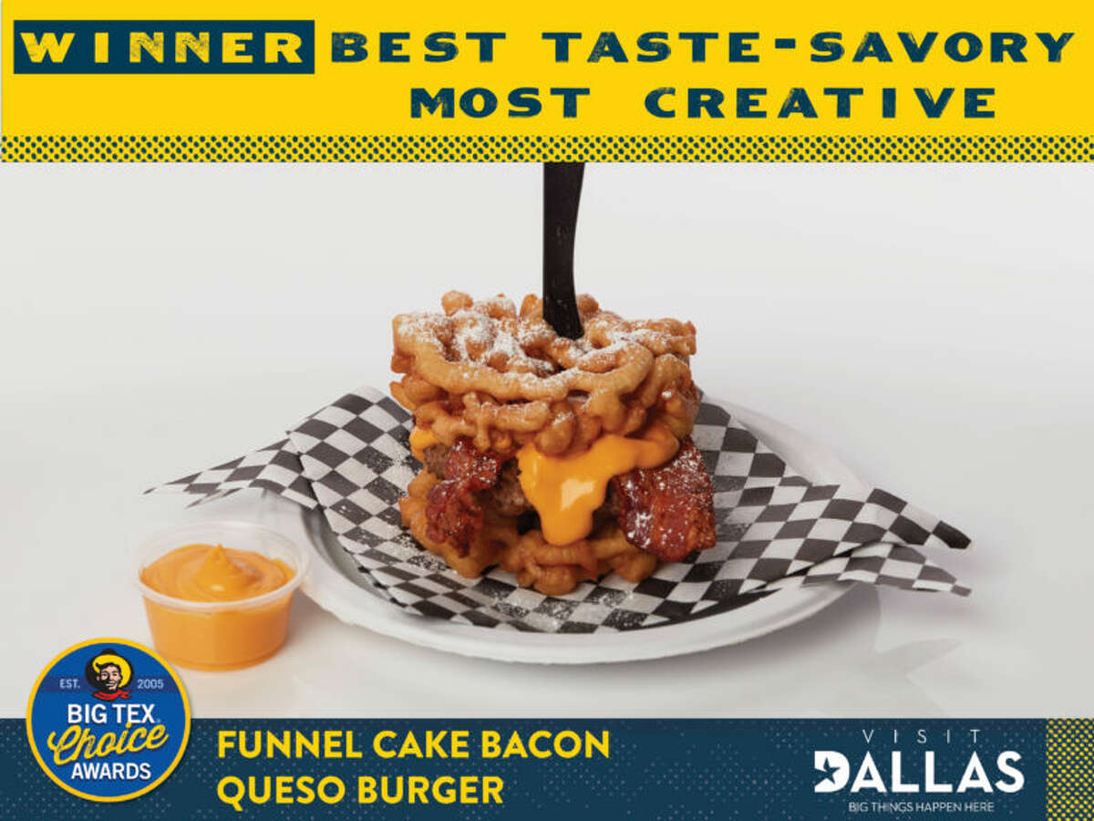 """Funnel Cake Bacon Queso Burger by Tom Grace & Edna Sutton *Big Tex Choice Award Winner - Best Taste: Savory* *Big Tex Choice Award Winner - Most Creative* Begin with two funnel cakes that are fried to a golden crunch (aka """"buns""""). The first funnel bun is topped with a juicy, freshly-grilled burger patty, a heaping helping of crispy bacon, and gooey queso!! It is completed with another funnel bun and generously dusted with powdered sugar."""
