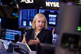 Meg Whitman, president and chief executive officer of Hewlett Packard Enterprise Co., speaks during a interview on the floor of the New York Stock Exchange (NYSE) in New York, U.S., on Wednesday, Sept. 6, 2017. Markets stabilized Wednesday, even as North Korean tensions continued to simmer, another hurricane tore through the Caribbean and a key member of the Fed resigned. Photographer: Michael Nagle/Bloomberg