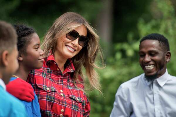 First lady Melania Trump hosted 10 children in the White House kitchen garden Friday, with White House chefs and National Park Service staff members on hand.