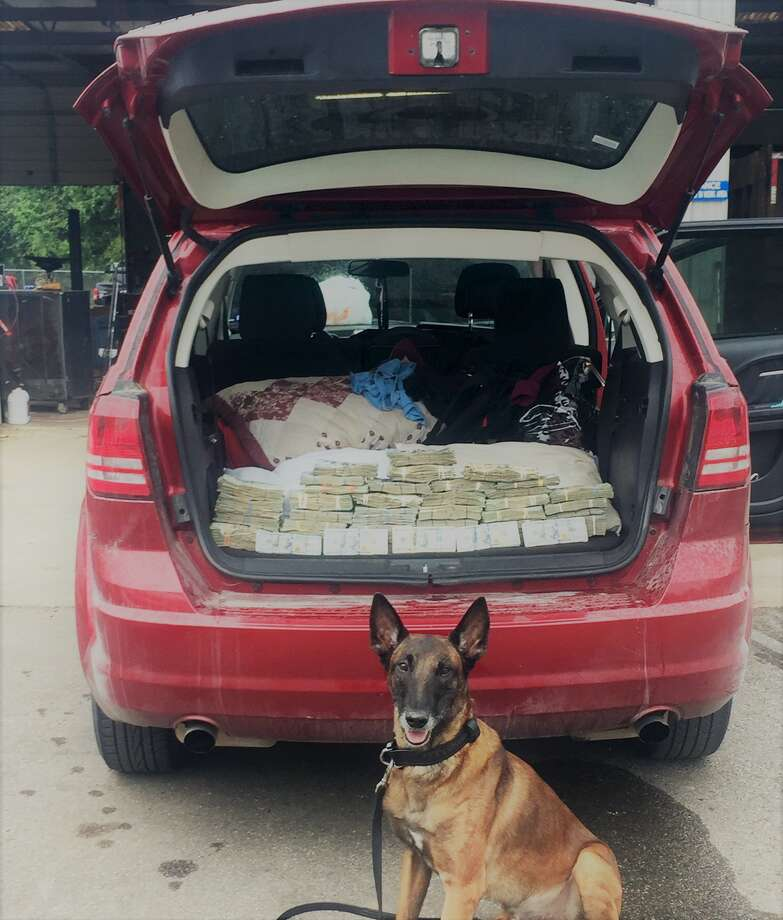 K-9 Rik with $237,576 in cash that was intercepted during a traffic stop in Rosenberg on Sept. 21, 2017.PHOTOS: Biggest drug busts on the Texas-Mexico border Photo: Fort Bend County Sheriff's Office