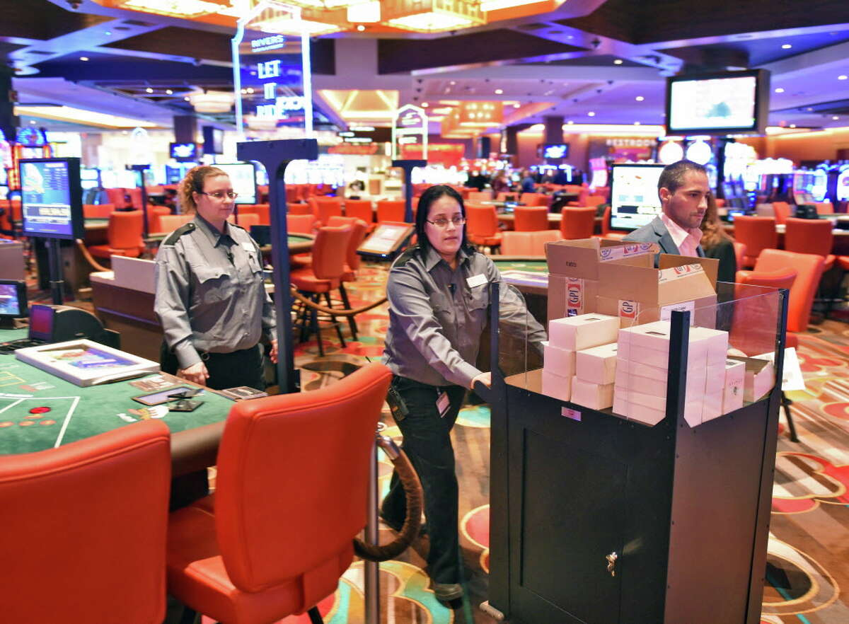 Cards and dice are delivered to gaming tables as the Rivers Casino and Resort opens Wednesday Feb. 8, 2017 in Schenectady, NY. (John Carl D'Annibale / Times Union)
