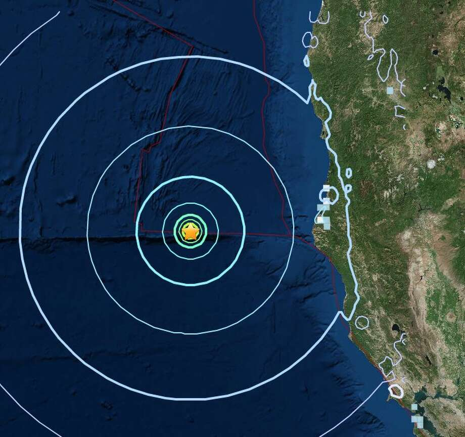A USGS intensity map suggests people on land may have been able to feel Friday's quake. Photo: USGS