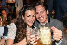 MUNICH, GERMANY - SEPTEMBER 21:  Axel Ludwig, Director Hotel Vier Jahreszeiten, and his girlfriend Claudia Schwarz at the Kaefer Wiesn-Schaenke during the Oktoberfest at Theresienwiese on September 21, 2017 in Munich, Germany.  (Photo by Hannes Magerstaedt/Getty Images)