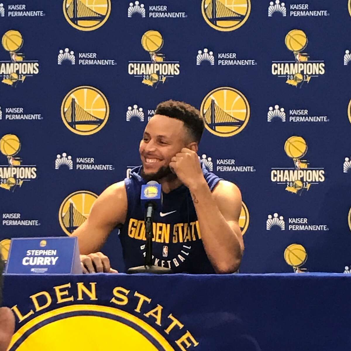Curry answers questions at 2017 Media Day.