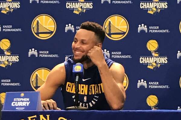 Curry answers questions at 2017 Media Day