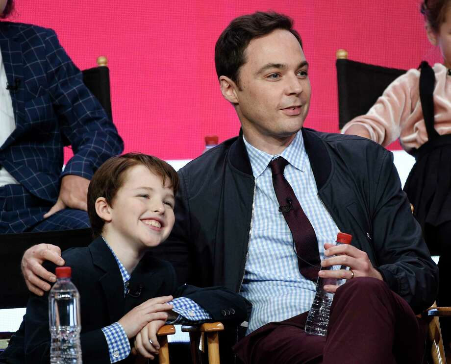 "Iain Armitage, left, a cast member in the CBS series ""Young Sheldon,"" and executive producer/narrator Jim Parsons take part in a panel discussion during the 2017 Television Critics Association Summer Press Tour on Tuesday, August 1, 2017, in Beverly Hills, Calif. (Photo by Chris Pizzello/Invision/AP) Photo: Chris Pizzello, INVL / 2017 Invision"