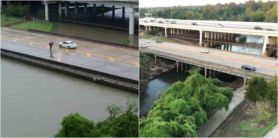 Before and after photo of flooding at Buffalo Bayou and the Beltway. Photo: Martin Smith