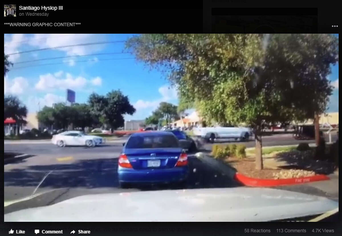 Facebook user Santiago Hyslop III posted video and a description of the violent DeZavala Road collision online on Sept. 20, 2017. The post had over 4,600 views and 240 shares as of Friday afternoon. Hyslop asked for the public to send any information on the case and encouraged others to share the video.
