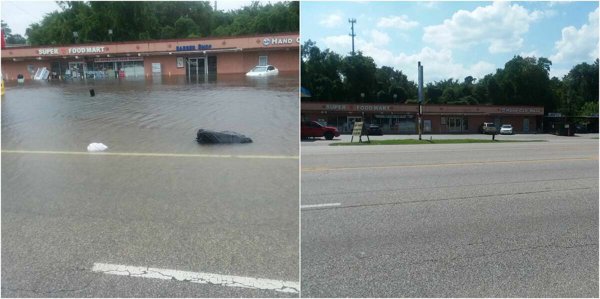 Before and after photo of flooding at Kuykendahl at FM 1960 in north Houston.