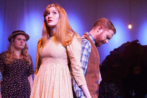 """""""Dark of the Moon"""" is on stage at the Sherman Playhouse through Sunday, Oct. 15. Cast includes Paige Gray as Ms. Metcalf, left, Bailey McCann as Edna, Michael Schaner as Hank and Michael Wright as Preacher Haggler."""