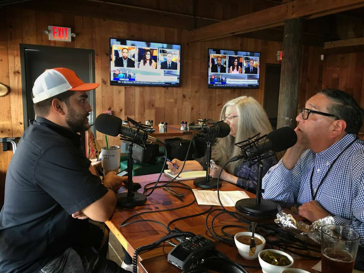 Arash Kharat chats with Alison Cook and Greg Morago while recording BBQ State of Mind at Beaver's on Westheimer.