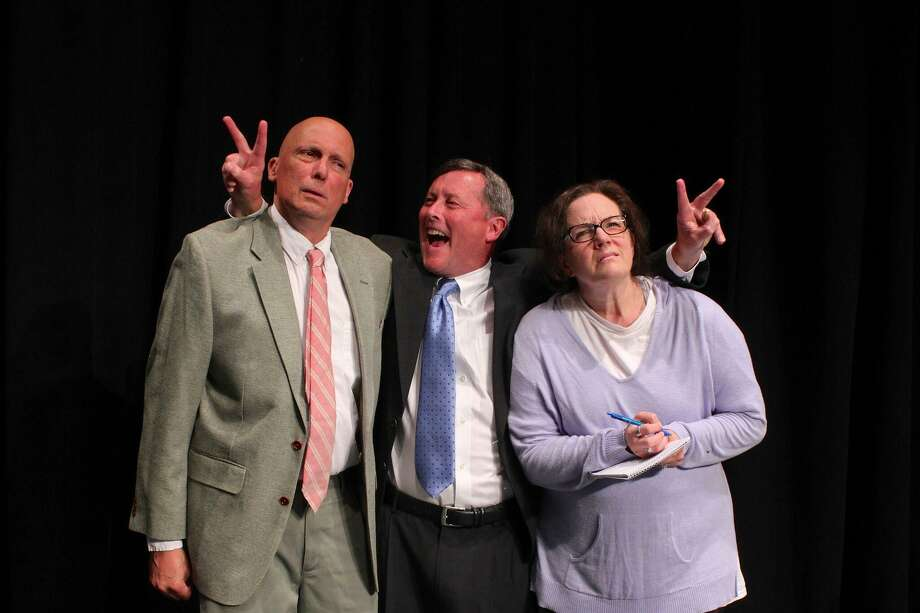 "Mark Frattaroli, of Stratford, left, John Bachelder, of Woodbridge, and Lauren Linn, of Stratford, are part of the cast in David Mamet's dark comedy, ""November,"" at the Eastbound Theatre in Milford through Oct. 15. Photo: Danielle Boyke / Eastbound Theatre"
