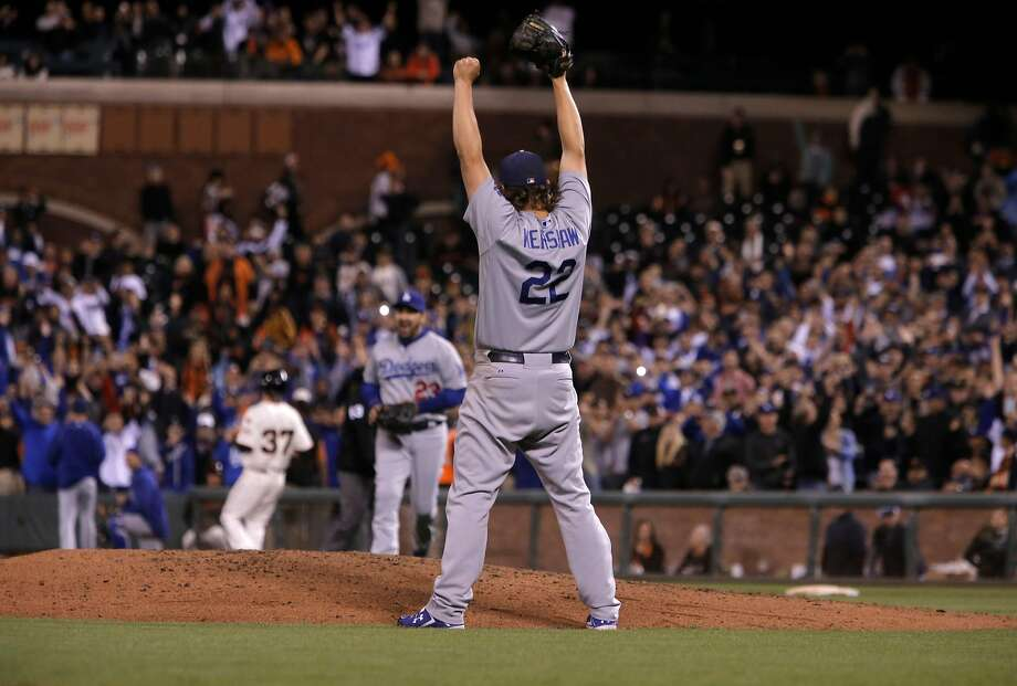 Clayton Kershaw completes a one-hitter at AT&T Park in September, 2015, that clinched the third of their four straight National League West titles. Photo: Michael Macor, The Chronicle