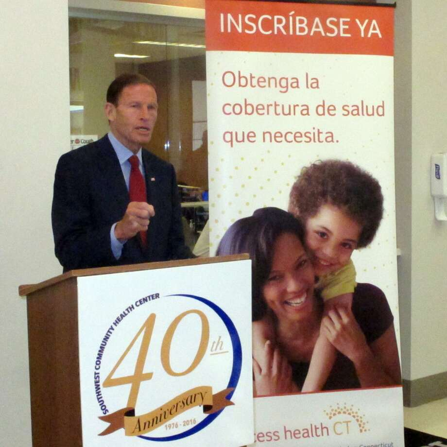 Sen. Richard Blumenthal speaks at the Southwest Community Health Center his opposition to a Republican-backed bill to scrap Obamacare. Bridgeport, Conn., Sept. 22, 2017 Photo: Cedar Attanasio / Hearst Connecticut Media / Connecticut Post