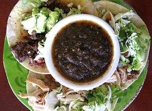 Griselda's Tacos Callejeros on fried handmade corn tortillas from Rosario's.