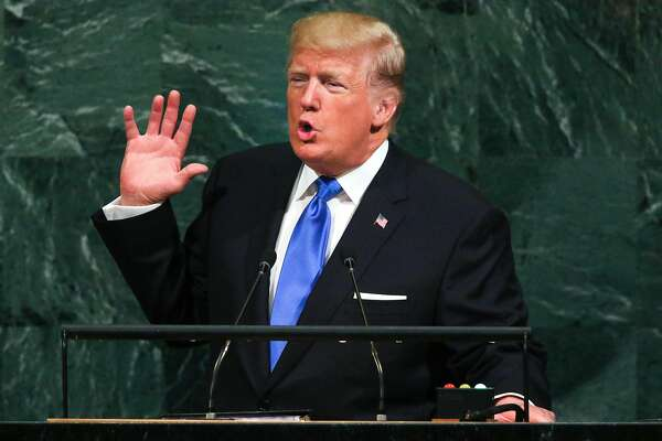 President Donald Trump addresses the United Nations General Assembly at the United Nations headquarters in New York, Sept. 19, 2017. In a bellicose speech in which he asserted that some parts of the world �are going to hell,� Trump threatened to �totally destroy North Korea� and took swipes at Iran and Venezuela as well. (Chang W. Lee/The New York Times)