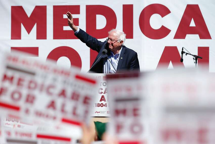 FILE - Sen. Bernie Sanders promotes his Medicare for All plan during a nurses convention rally at Yerba Buena Gardens on Sept. 22, 2017, in San Francisco, Calif. Sanders will return to the Bay Area this Sunday.