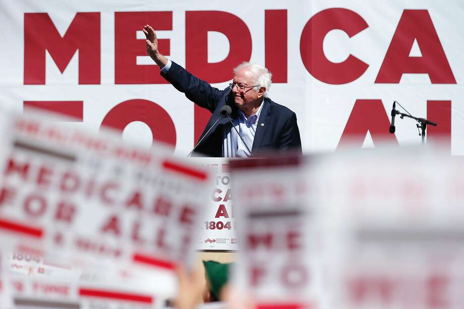 Sen. Bernie Sanders, during a 2017 rally at Yerba Buena Gardens in San Francisco, promoted Medicare for all. Americans initially support the plan 56 percent to 42 percent, a poll shows. Photo: Santiago Mejia / The Chronicle 2017
