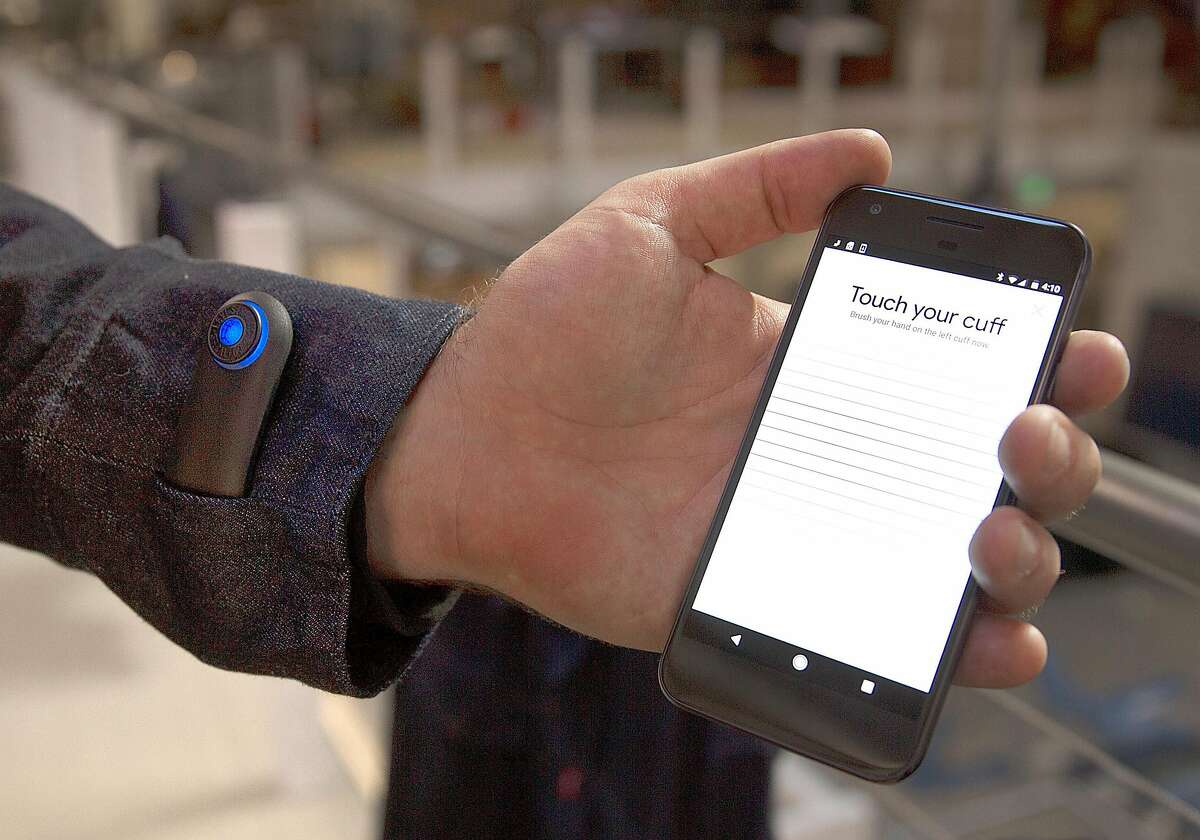 Jaoquard technology woven in cuff of Levi's� commuter� trucker jacket can be used to access music, navigation, as well as calls and texts on Thursday, September 21, 2017, in San Francisco, Calif.