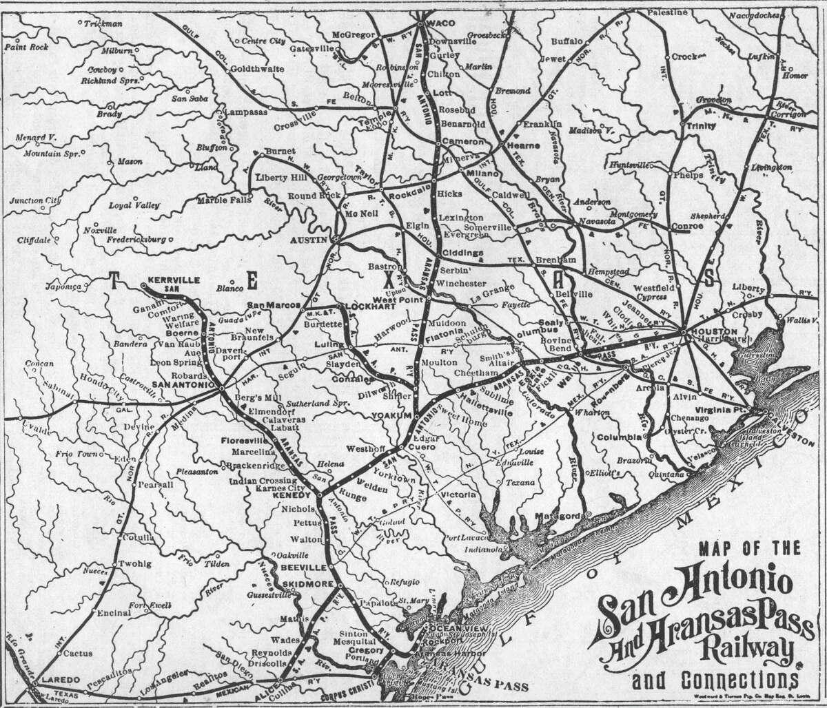 San Antonio & Aranasas Pass system map.