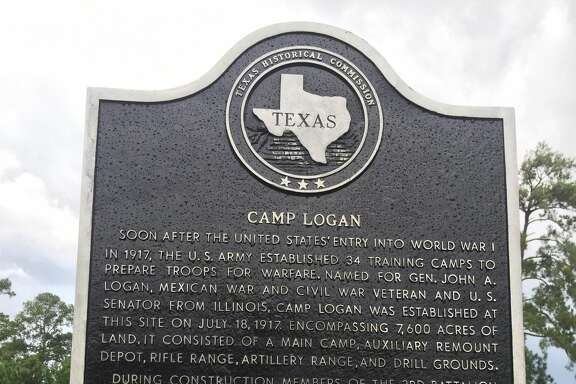 """Spray paint was cleaned from the Camp Logan historical   marker in Memorial Park on Aug. 31. The sign was desecrated mere hours after its  rededication on Aug. 23, 2017. The attack came less than a day after  the state historical monument,  scarred on its back by previous damage,  was unveiled by officials,  preservationist and history lovers. The  program included calls for  """"tolerance and understanding"""" by Mayor  Sylvester Turner and other  speakers."""