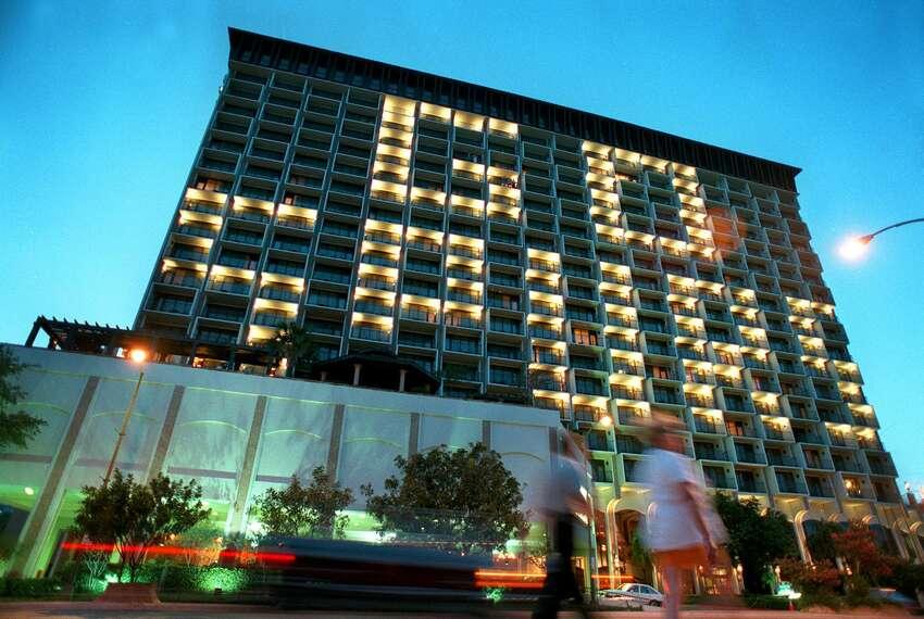 The Hilton Palacio Del Rio Hotel glows with the message