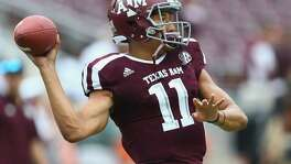 Kellen Mond of the Texas A&M Aggies throws a pass during warm-ups at Kyle Field on Sept. 16, 2017 in College Station.