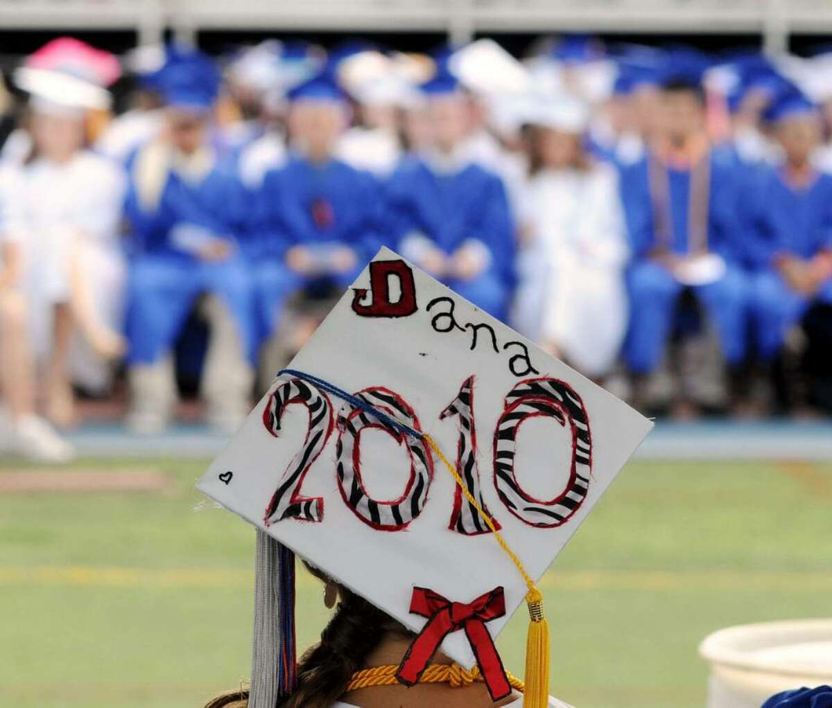Dana Angotta, the 2010 graduating classes class president, wears her personalized graduation cap proudly during the Danbury High School commencement exercises on Wednesday June 23, 2010 at Danbury High School. In all there were 648 graduates.