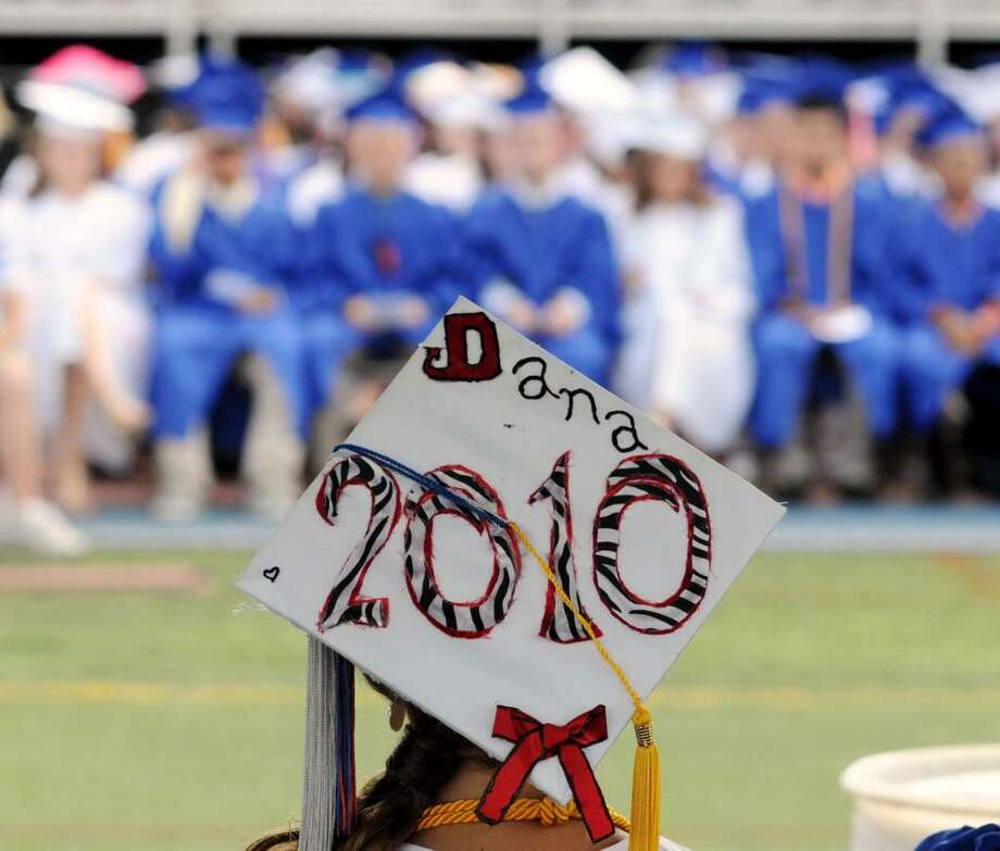 Dana Angotta, the 2010 graduating classes class president, wears her personalized graduation cap proudly during the Danbury High  School commencement exercises on Wednesday June 23, 2010 at Danbury High School. In all there were 648 graduates. Photo: Lisa Weir / The News-Times Freelance