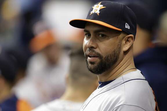 Houston Astros' Carlos Beltran before a baseball game against the Tampa Bay Rays Friday, April 21, 2017, in St. Petersburg, Fla. (AP Photo/Chris O'Meara)