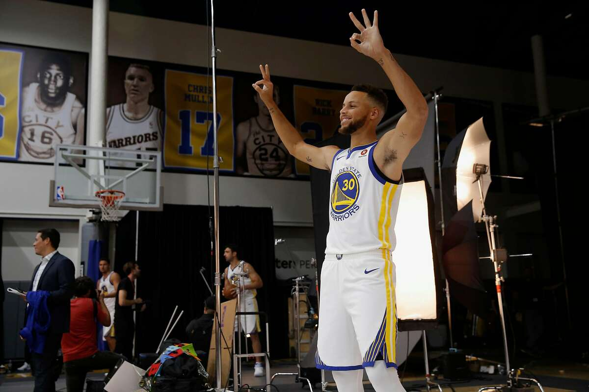 Warriors' Stephen Curry during 2017 media day for the NBA's Golden State Warriors in Oakland, Ca., on Friday September 22, 2017.