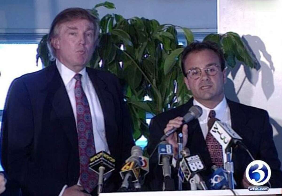 Donald Trump appears at a press conference with Bridgeport Mayor Joe Ganim on June 2, 1994. Photo courtesy WFSB Channel 3.