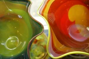 Hand blown glass marbleized bowls at Garcia Art Glass. Gini Garcia is going to close her River Walk gallery at the Hyatt Regency.