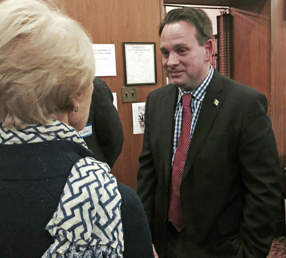 Selectman Drew Marzullo arrives at Democrats' election night headquarters at the Greenwich Senior Center, Nov. 3, 2015. Photo: Paul Schott / Hearst Connecticut Media / Greenwich Time
