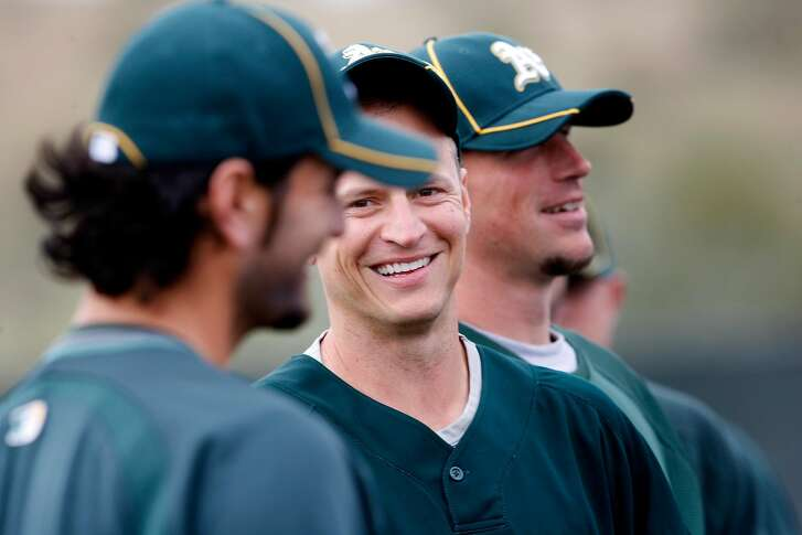 The Athletics Mark Ellis smiled during workouts Saturday February 27, 2010. Annual spring training action with the San Francisco Giants and Oakland Athletics from Scottsdale and Phoenix, Arizona.